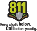 Logo for Call 811 to locate buried utilies before digging